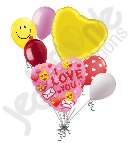 I Love You Emoji Happy Valentine's Day Balloon Bouquet