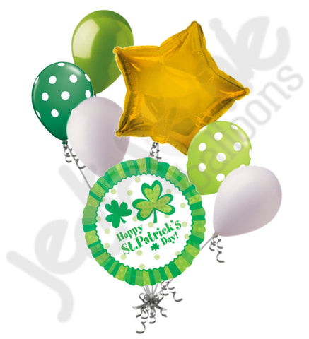 Lucky Wishes Green Clover St. Patrick's Day Balloon Bouquet