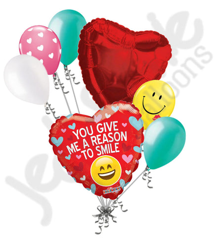 My Reason to Smile Happy Valentine's Day Balloon Bouquet