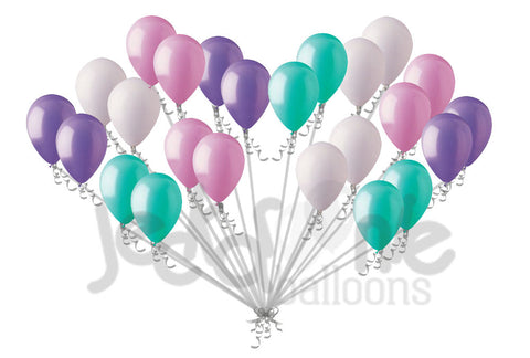 Aqua Lavender Pink & White Latex Balloons Mermaid Inspired 6