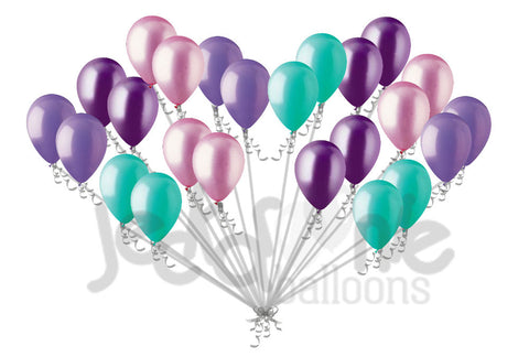 Aqua Lavender Pink Purple Latex Balloons Mermaid Inspired 7