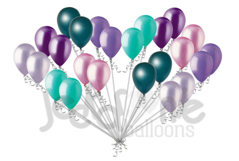 Aqua Lavender Lilac Pink Purple Teal Latex Balloons Mermaid Inspired 12