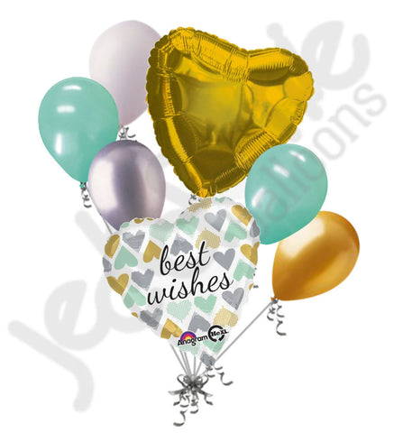 Best Wishes Mint & Gold Heart Balloon Bouquet