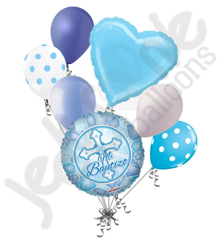 Azul Mi Bautizo Cross Baptism Balloon Bouquet