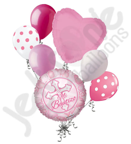 Rosa Mi Bautizo Cross Baptism Balloon Bouquet