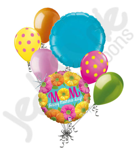 Bright Holographic Flowers Happy Mother's Day Balloon Bouquet