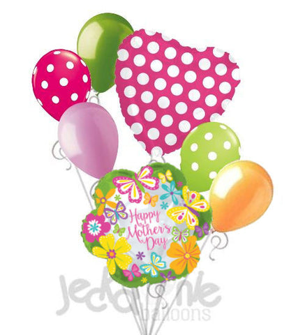 Happy Mother's Day Lime Green Flower & Butterflies Balloon Bouquet