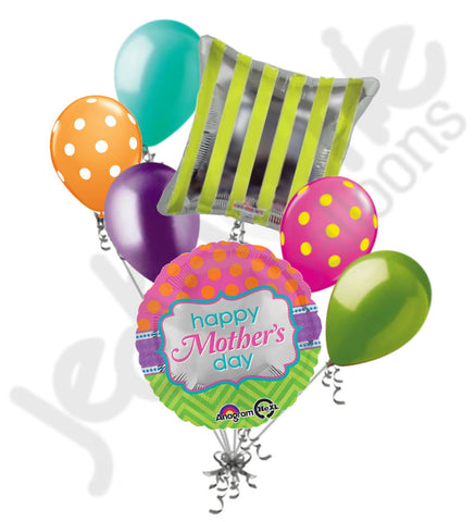 Chevron & Polka Dots Happy Mother's Day Balloon Bouquet