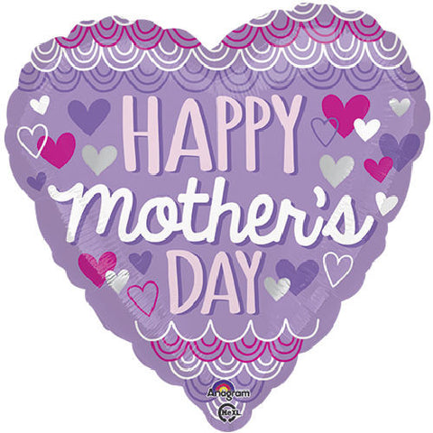 pretty purple hearts happy mother s day balloon bouquet