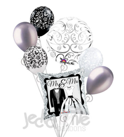 Mr. & Mrs. Tux & Gown Wedding Shower Balloon Bouquet