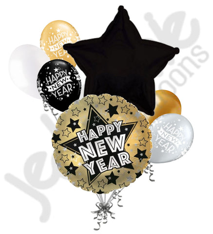 Gold & Black Star Happy New Year Balloon Bouquet