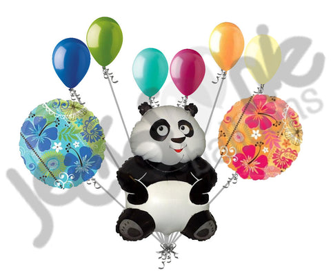 Tropical Panda Bear Balloon Bouquet