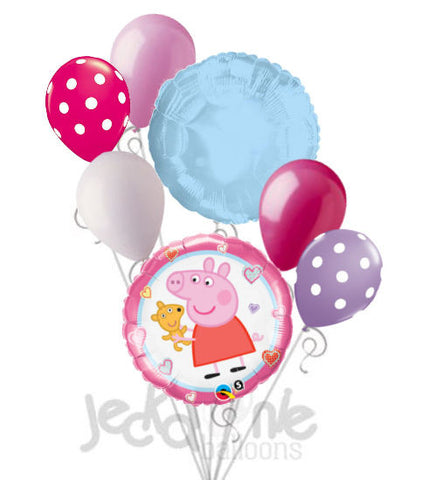 Peppa Pig with Stuffed Animal Balloon Bouquet