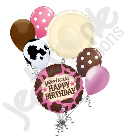Cow Girl Happy Birthday Balloon Bouquet