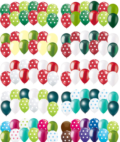 Christmas & Winter Inspired Polka Dot Latex Balloons