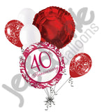 Happy 40th Anniversary Ruby Red Balloon Bouquet