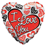Contemporary Red & Black I Love You Happy Valentines Day Hearts Balloon Bouquet