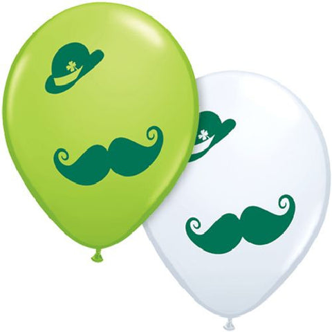 Derby & Mustache St. Patrick's Day Latex Balloons