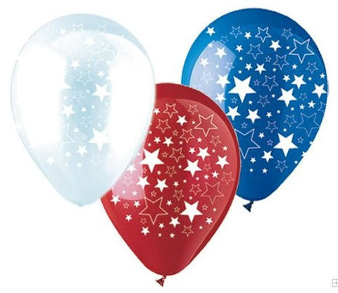 Red, White & Blue Patriotic Stars Latex Balloons