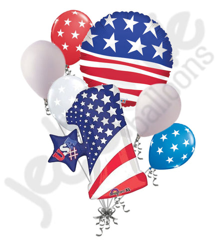 #1 Patriotic American Flag Balloon Bouquet