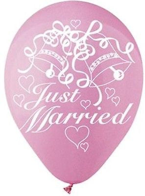 Pink Just Married Latex Balloons