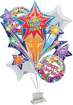 Happy New Year Star Burst Celebration Balloon Bouquet