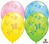 Colorful Butterflies Around Latex Balloons