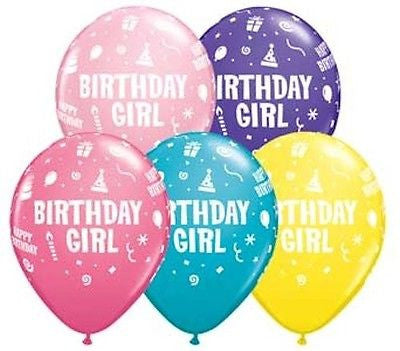 Birthday Girl Block Letter Latex Balloons