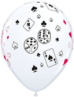 Cards & Dice Print Latex Balloons