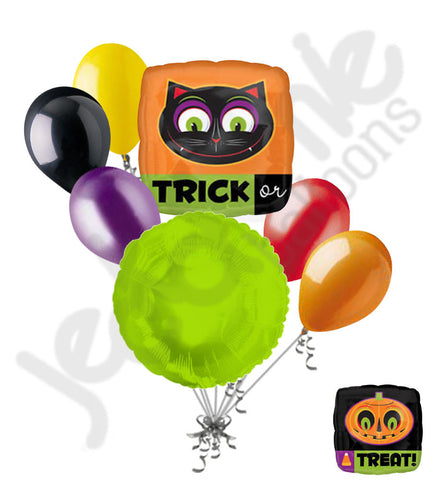 Trick or Treat Cat & Pumpkin Halloween Balloon Bouquet
