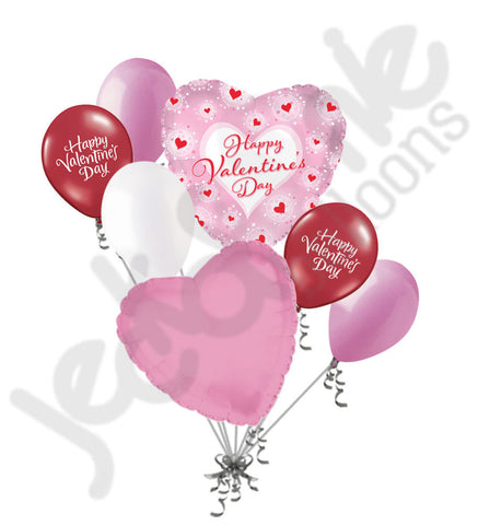 Pink Bursts Happy Valentines Day Balloon Bouquet