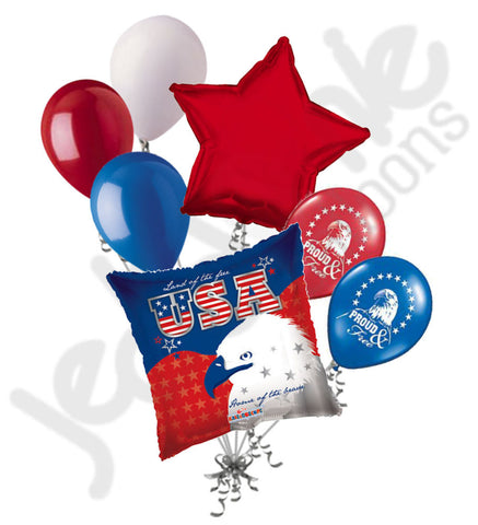 Land of the Free Eagle Patriotic Balloon Bouquet