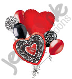 Damask Scrolls Happy Valentines Day Balloon Bouquet