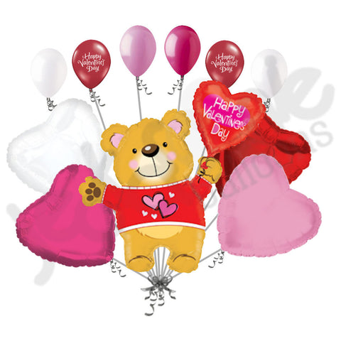 Cuddle Bear Happy Valentines Day Balloon Bouquet