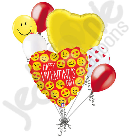 Emoji Happy Valentine's Day Balloon Bouquet