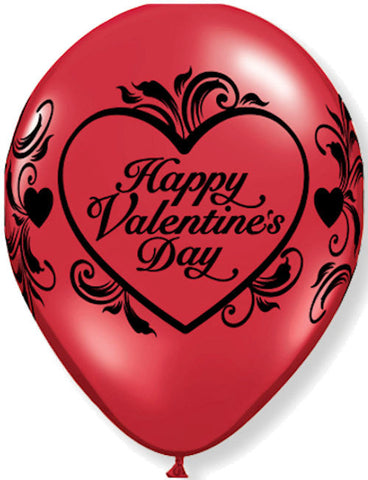 Red Filigree Happy Valentine's Day Latex Balloons