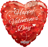 Red Clearview Happy Valentines Day Balloon Bouquet