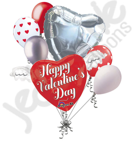 Heart Wings Valentines Day Balloon Bouquet