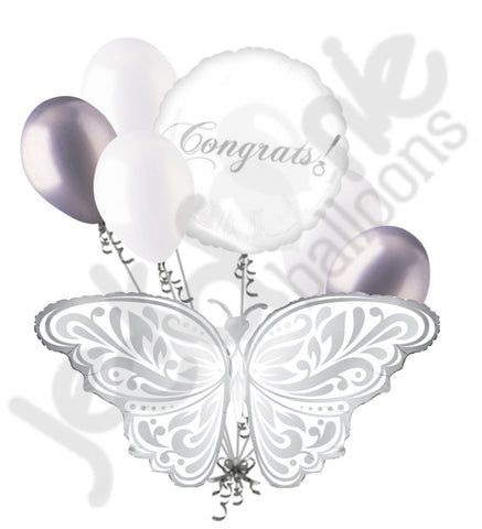 Silver & White Wedding Butterfly Best Wishes Balloon Bouquet