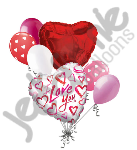 Colorful Painted Hearts I Love You Balloon Bouquet