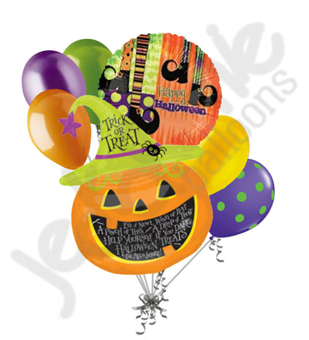 Witch Hat Jack-O-Lantern Halloween Balloon Bouquet