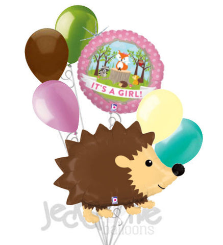 Woodland Hedgehog It's a Baby Girl Animal Balloon Bouquet