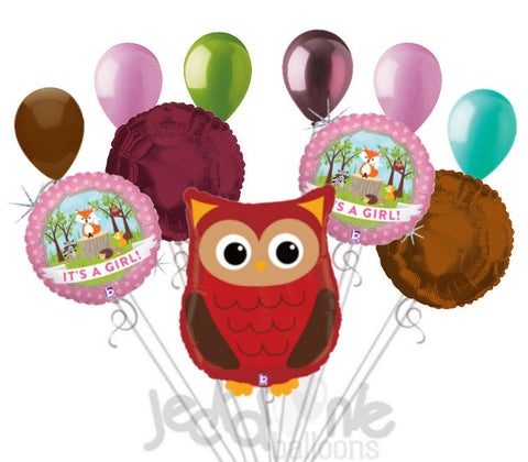 Woodland Owl It's a Baby Girl Animal Balloon Bouquet