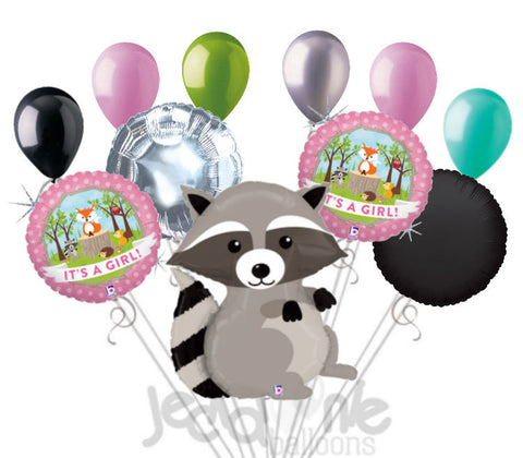 Woodland Raccoon It's a Baby Girl Animal Balloon Bouquet