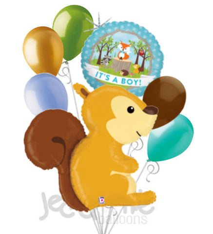 Woodland Squirrel It's a Baby Boy Animal Balloon Bouquet