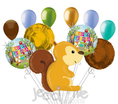 Woodland Squirrel Happy Birthday Animal Balloon Bouquet
