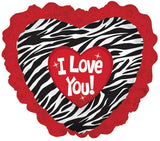 Zebra & Ruffles I Love You Balloon Bouquet