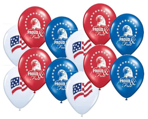 Proud & Free Patriotic American Flag & Eagle Latex Balloons