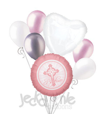 Pink Cross Baptism Girl Balloon Bouquet
