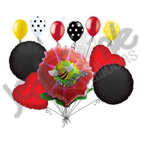 Bee Mine Flower Happy Valentines Day Balloon Bouquet